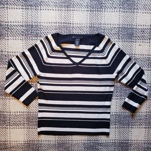 Apostrophe black & white v neck sweater